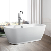 #VAR-VA6835, 59'' Small Acrylic Freestanding Bathtub, Modern Soaking Tub with UPC Certified Polished Chrome Round Overflow, Pop-up Drain and Adjustable Leveling Legs, 59'' W x  29-1/2'' D x  23-1/2'' H, White