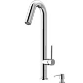 Oakhurst Kitchen Faucet, Chrome, Soap Dispenser, Faucet Height: 18-1/4'', Spout Reach: 6-1/8'', Hose Reach: 25''