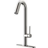 Oakhurst Kitchen Faucet, Stainless Steel, Deck Plate, Faucet Height: 18-1/4'', Spout Reach: 6-1/8'', Hose Reach: 25''