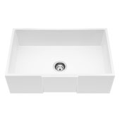 Matte Stone™ 30'' W Single Farmhouse Square Apron Front Kitchen Sink with Cuttimg Board and Strainer, 30'' W x 18'' D x 9-5/8'' H