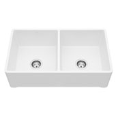 Farmhouse Casement Kitchen Sink in Matte White with Cutting Board and Strainers , 33''