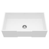 Farmhouse Kitchen Sink in Matte White with Cutting Board and Strainer , 33''
