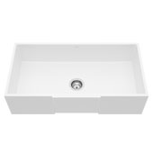 Matte Stone™ 36'' W Single Farmhouse Square Apron Front Kitchen Sink with Cuttimg Board and Strainer, 36'' W x 18'' D x 9-5/8'' H