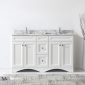 Talisa 60'' Double Sink Bathroom Vanity in White with Italian Carrara White Marble Top and Square Sink , 60''W x 23''D x 36''H