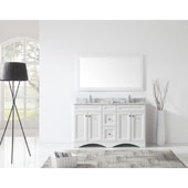 Talisa 60'' Double Sink Bathroom Vanity in White with Italian Carrara White Marble Top and Square Sink with Mirror, 60''W x 23''D x 36''H