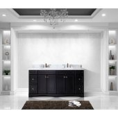 Talisa 72'' Double Bathroom Vanity Set in Espresso, Italian Carrara White Marble Top with Round Sinks