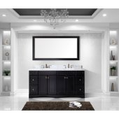 Talisa 72'' Double Bathroom Vanity Set in Espresso, Italian Carrara White Marble Top with Round Sinks, Mirror Included