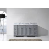 Talisa 72'' Double Bathroom Vanity Set in Grey, Italian Carrara White Marble Top with Round Sinks, Brushed Nickel Faucets
