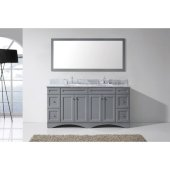 Talisa 72'' Double Bathroom Vanity Set in Grey, Italian Carrara White Marble Top with Round Sinks, Brushed Nickel Faucets, Mirror Included