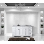 Talisa 72'' Double Bathroom Vanity Set in White, Italian Carrara White Marble Top with Round Sinks, Brushed Nickel Faucets