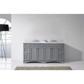 Talisa 72'' Double Bathroom Vanity Set in Grey, Italian Carrara White Marble Top with Square Sinks