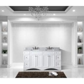 Talisa 72'' Double Bathroom Vanity Set in White, Italian Carrara White Marble Top with Square Sinks