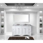Talisa 72'' Double Bathroom Vanity Set in White, Italian Carrara White Marble Top with Square Sinks, Mirror Included