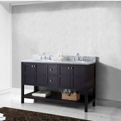 Winterfell 60'' Double Bathroom Vanity Set in Espresso, Italian Carrara White Marble Top with Round Sinks, Polished Chrome Faucets