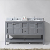 Winterfell 60'' Double Bathroom Vanity Set in Grey, Italian Carrara White Marble Top with Round Sinks, Brushed Nickel Faucets