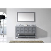 Winterfell 60'' Double Bathroom Vanity Set in Grey, Italian Carrara White Marble Top with Round Sinks, Polished Chrome Faucets, Mirror Included