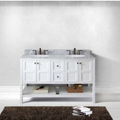 Winterfell 60'' Double Bathroom Vanity Set in White, Italian Carrara White Marble Top with Round Sinks