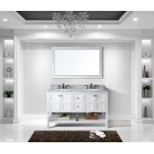 Winterfell 60'' Double Bathroom Vanity Set in White, Italian Carrara White Marble Top with Round Sinks, Brushed Nickel Faucets, Mirror Included