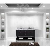 Winterfell 60'' Double Bathroom Vanity Set in Espresso, Italian Carrara White Marble Top with Square Sinks