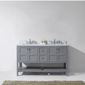 Winterfell 60'' Double Bathroom Vanity Set in Grey, Italian Carrara White Marble Top with Square Sinks