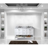 Winterfell 60'' Double Bathroom Vanity Set in White, Italian Carrara White Marble Top with Square Sinks, Brushed Nickel Faucets