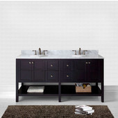 Winterfell 72'' Double Bathroom Vanity Set in Espresso, Italian Carrara White Marble Top with Round Sinks