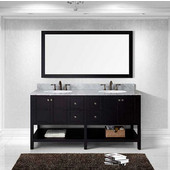 Winterfell 72'' Double Bathroom Vanity Set in Espresso, Italian Carrara White Marble Top with Round Sinks, Mirror Included