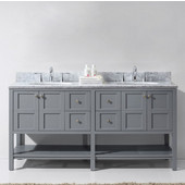 Winterfell 72'' Double Bathroom Vanity Set in Grey, Italian Carrara White Marble Top with Round Sinks