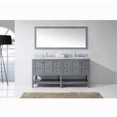 Winterfell 72'' Double Bathroom Vanity Set in Grey, Italian Carrara White Marble Top with Round Sinks, Mirror Included