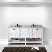 Winterfell 72'' Double Bathroom Vanity Set in White, Italian Carrara White Marble Top with Round Sinks