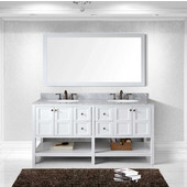Winterfell 72'' Double Bathroom Vanity Set in White, Italian Carrara White Marble Top with Round Sinks, Mirror Included