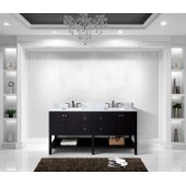 Winterfell 72'' Double Bathroom Vanity Set in Espresso, Italian Carrara White Marble Top with Square Sinks