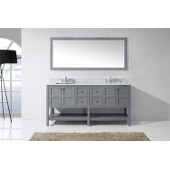 Winterfell 72'' Double Bathroom Vanity Set in Grey, Italian Carrara White Marble Top with Square Sinks, Brushed Nickel Faucets, Mirror Included