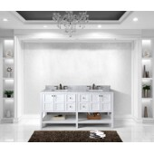 Winterfell 72'' Double Bathroom Vanity Set in White, Italian Carrara White Marble Top with Square Sinks