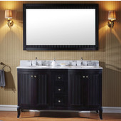 Khaleesi 60'' Double Bathroom Vanity Set in Espresso, Italian Carrara White Marble Top with Round Sinks, Available with Optional Faucets, Mirror Included