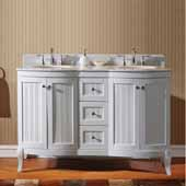 Khaleesi 60'' Double Bathroom Vanity Set in White, Italian Carrara White Marble Top with Round Sinks