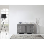 Talisa 60'' Single Sink Bathroom Vanity in Grey with Italian Carrara White Marble Top and Round Sink , 60''W x 23''D x 36''H