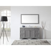 Talisa 60'' Single Sink Bathroom Vanity in Grey with Italian Carrara White Marble Top and Round Sink with Polished Chrome Faucet and Mirror, 60''W x 23''D x 36''H