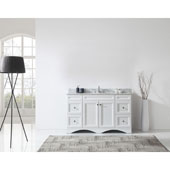 Talisa 60'' Single Sink Bathroom Vanity in White with Italian Carrara White Marble Top and Round Sink, 60''W x 23''D x 36''H