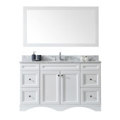 Talisa 60'' Single Sink Bathroom Vanity in White with Italian Carrara White Marble Top and Square Sink with Mirror, 60''W x 23''D x 36''H