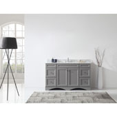 Talisa 60'' Single Sink Bathroom Vanity in Grey with Italian Carrara White Marble Top and Square Sink , 60''W x 23''D x 36''H