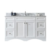 Talisa 60'' Single Sink Bathroom Vanity in White with Italian Carrara White Marble Top and Square Sink, 60''W x 23''D x 36''H