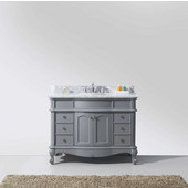 Norhaven 48'' Single Bathroom Vanity Set in Grey, Italian Carrara White Marble Top with Round Sink