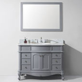 Norhaven 48'' Single Bathroom Vanity Set in Grey, Italian Carrara White Marble Top with Round Sink, Mirror Included