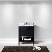 Winterfell 30'' Single Bathroom Vanity Set in Espresso, Italian Carrara White Marble Top with Round Sink