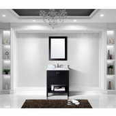 Winterfell 30'' Single Bathroom Vanity Set in Espresso, Italian Carrara White Marble Top with Round Sink, Mirror Included