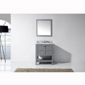 Winterfell 30'' Single Bathroom Vanity Set in Grey, Italian Carrara White Marble Top with Round Sink, Mirror Included