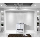 Winterfell 30'' Single Bathroom Vanity Set in White, Italian Carrara White Marble Top with Round Sink