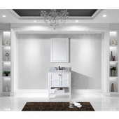 Winterfell 30'' Single Bathroom Vanity Set in White, Italian Carrara White Marble Top with Round Sink, Mirror Included