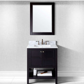 Winterfell 30'' Single Bathroom Vanity Set in Espresso, Italian Carrara White Marble Top with Square Sink, Available with Optional Faucet, Mirror Included